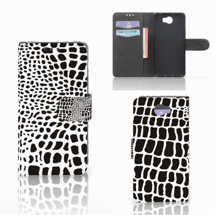 Huawei Y5 2 | Y6 II Compact Telefoonhoesje met Pasjes Slangenprint