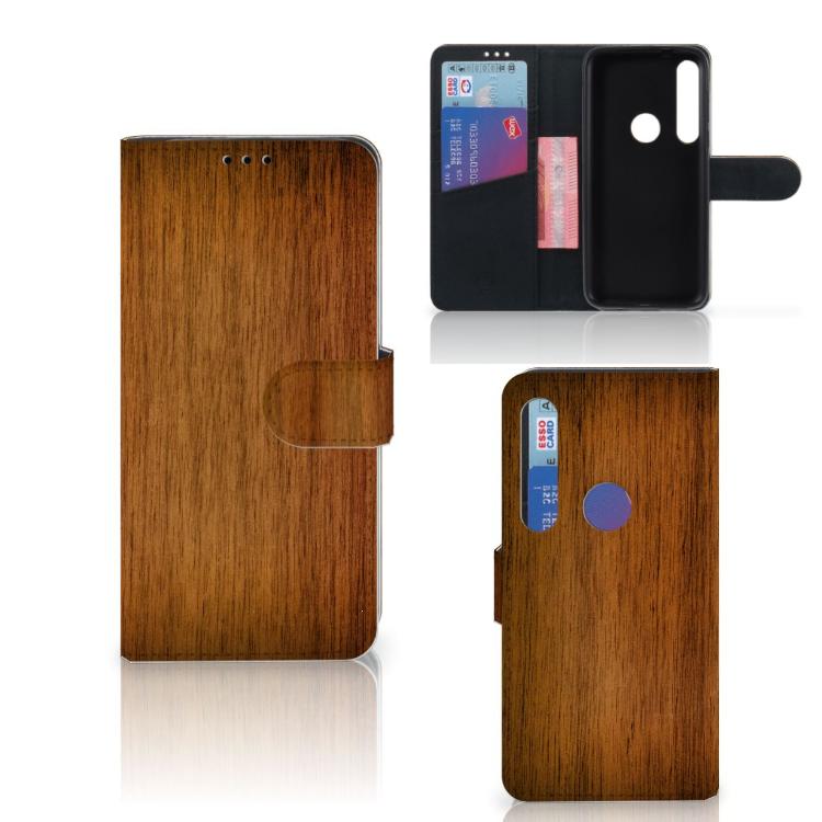 Motorola Moto G8 Plus Book Style Case Donker Hout