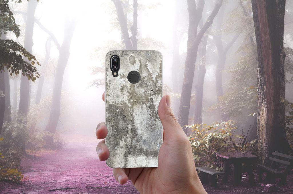 Huawei P20 Lite TPU Siliconen Hoesje Beton Print