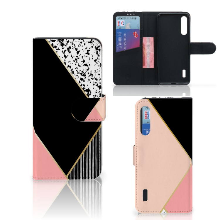 Xiaomi Mi A3 Bookcase Zwart Roze Vormen