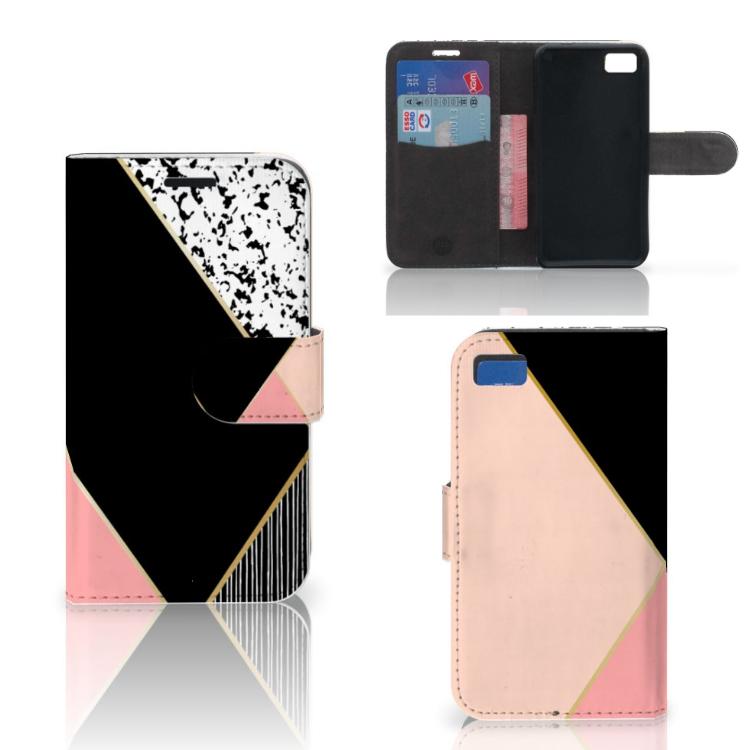 Blackberry Z10 Bookcase Zwart Roze Vormen