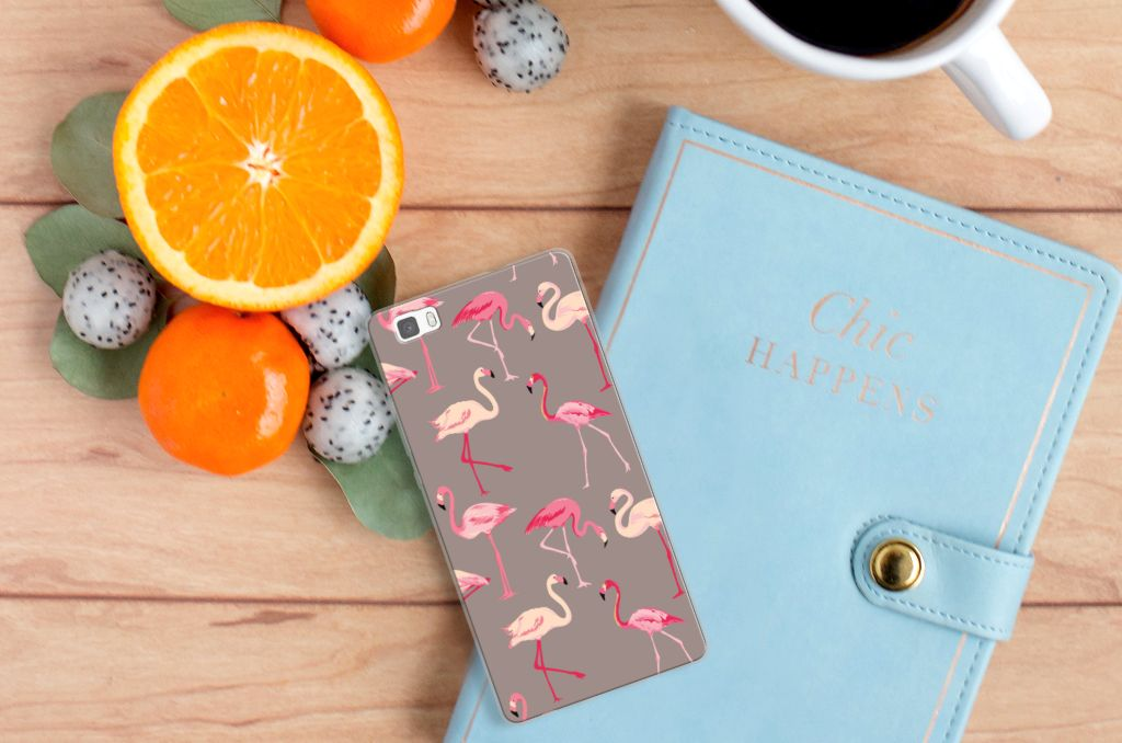 Huawei Ascend P8 Lite Uniek TPU Hoesje Flamingo