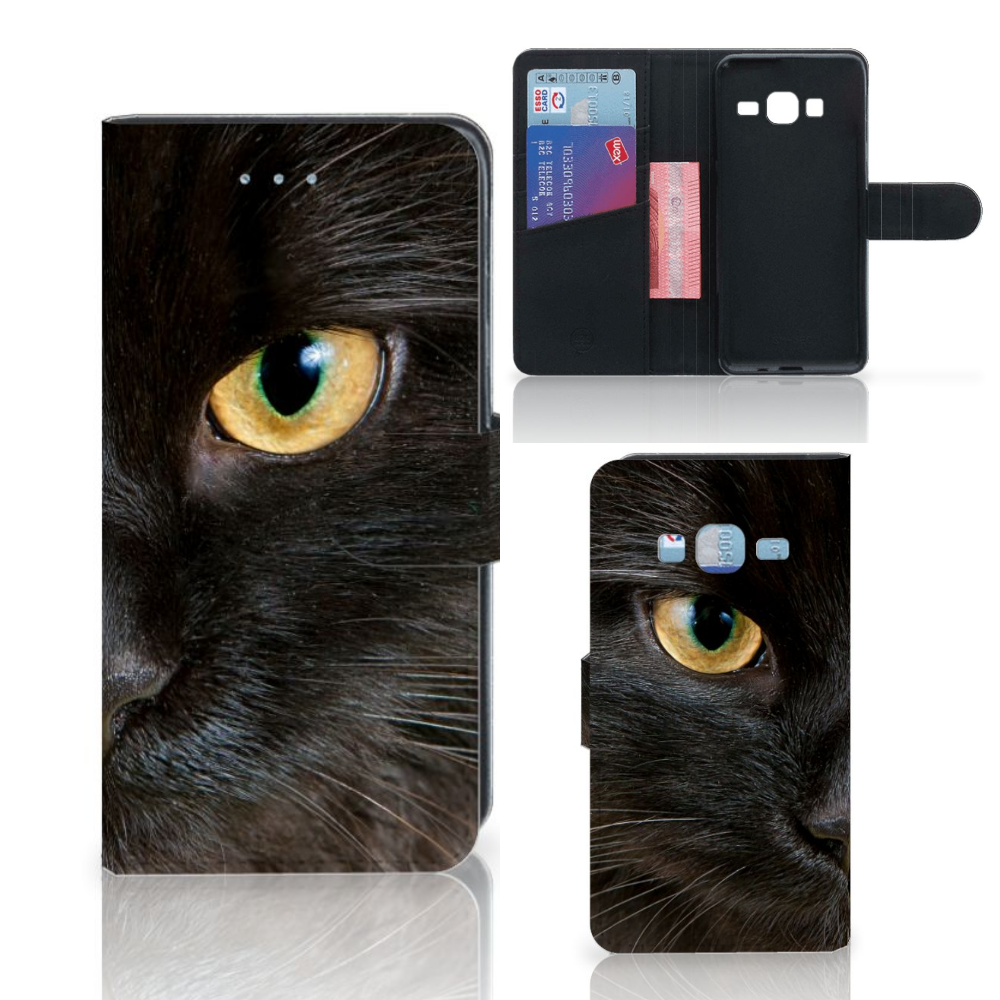 Samsung Galaxy J3 2016 Telefoonhoesje met Pasjes Zwarte Kat