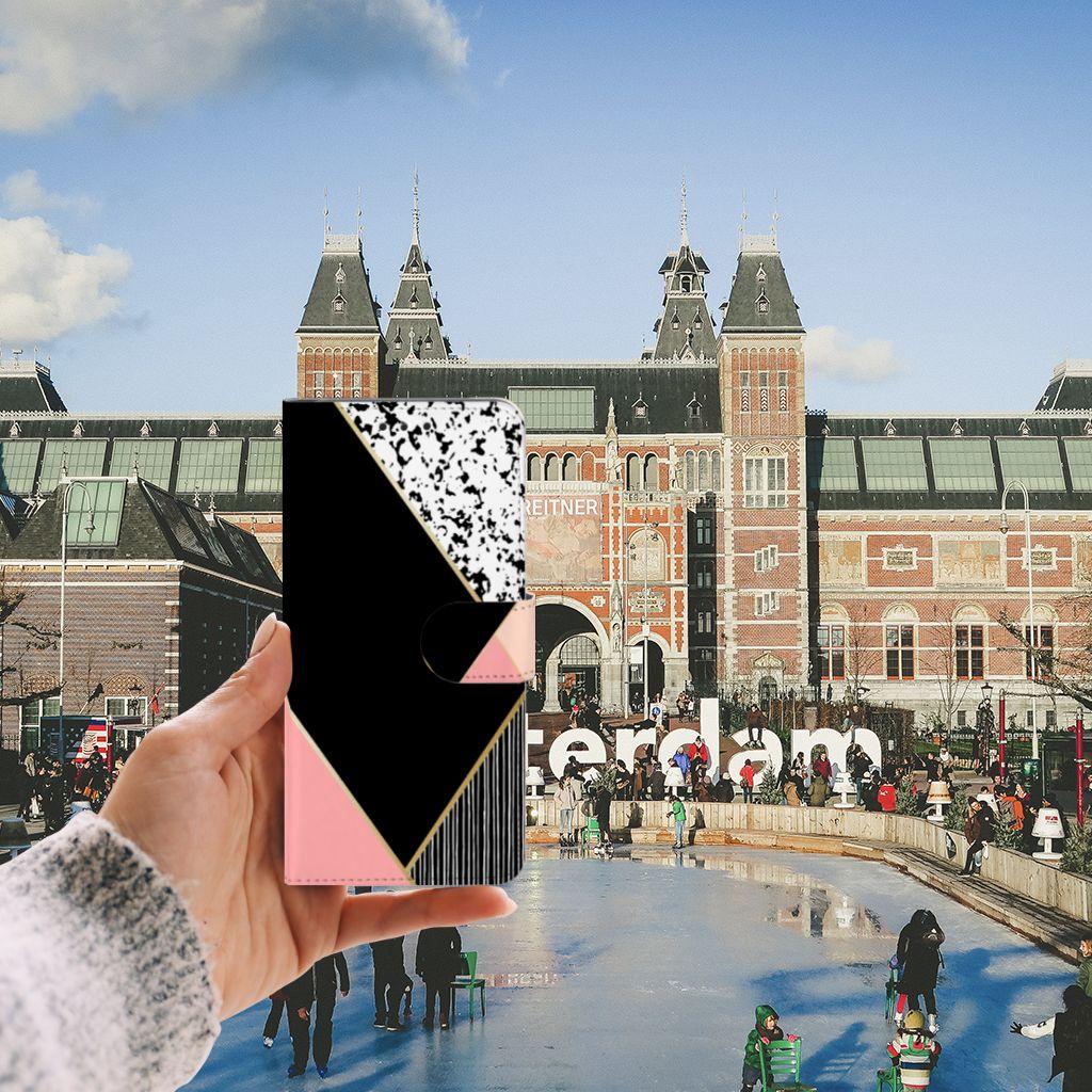 Samsung Galaxy A8 Plus (2018) Uniek Boekhoesje Black Pink Shapes
