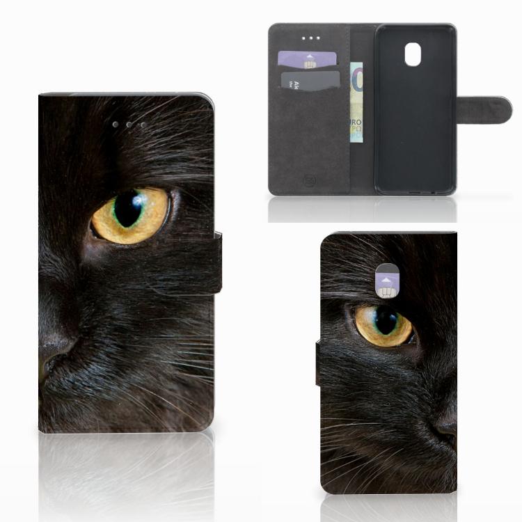 Samsung Galaxy J7 (2018) Telefoonhoesje met Pasjes Zwarte Kat