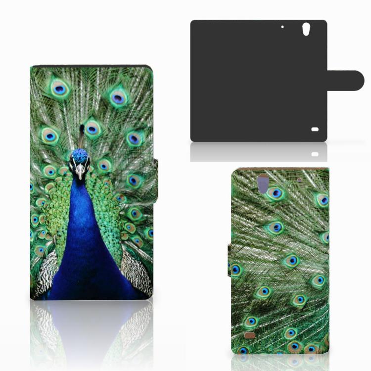 Sony Xperia C4 Telefoonhoesje met Pasjes Pauw