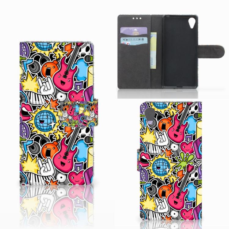 Sony Xperia X Performance Wallet Case met Pasjes Punk Rock