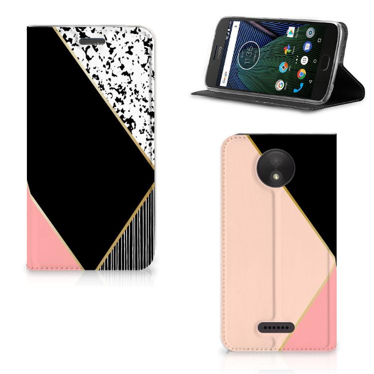 Motorola Moto C Plus Stand Case Zwart Roze Vormen