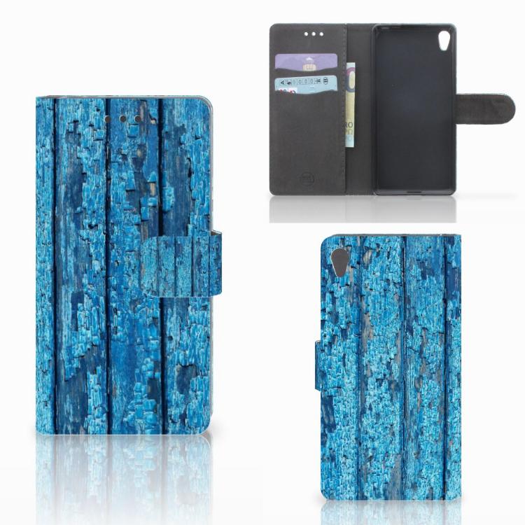 Sony Xperia E5 Book Style Case Wood Blue