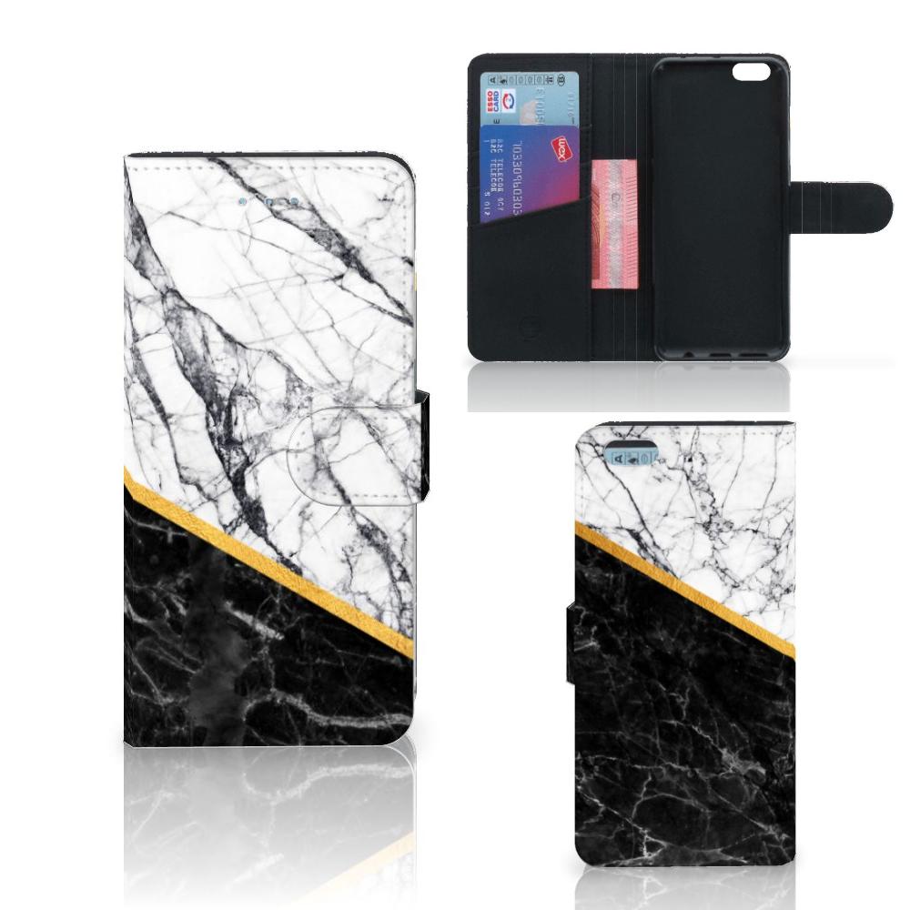 Apple iPhone 6 Plus | 6s Plus Bookcase Marmer Wit Zwart