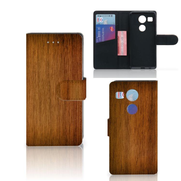 LG Nexus 5X Book Style Case Donker Hout