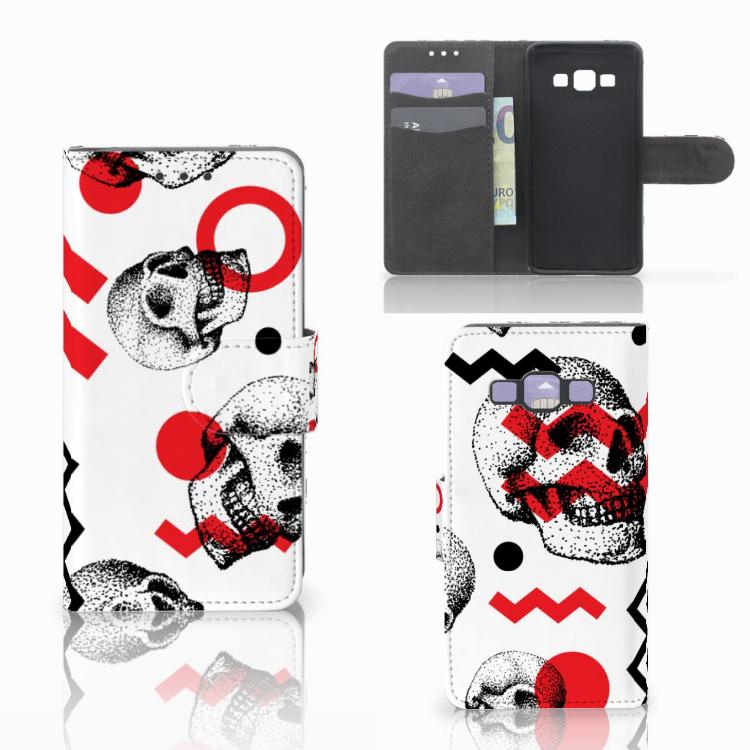 Telefoonhoesje met Naam Samsung Galaxy A3 2015 Skull Red