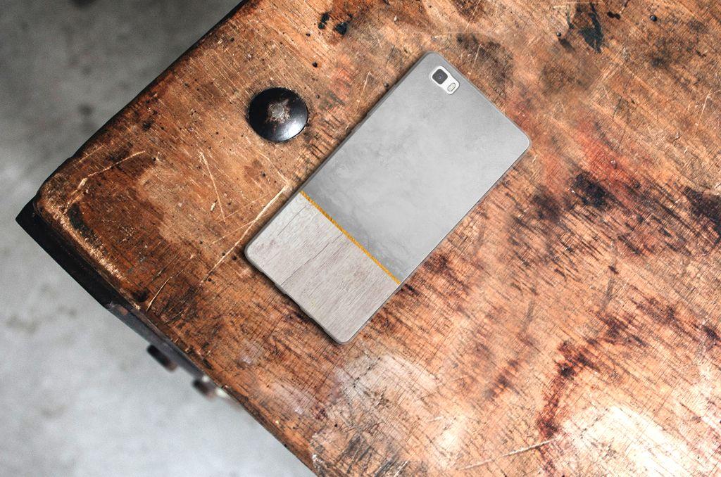 Huawei Ascend P8 Lite Bumper Hoesje Wood Concrete