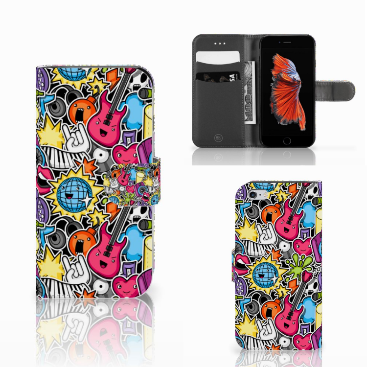 Apple iPhone 6   6s Wallet Case met Pasjes Punk Rock