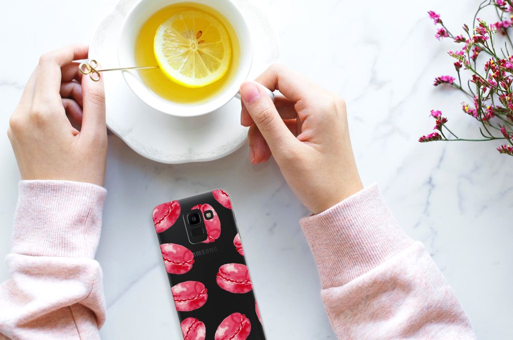 Samsung Galaxy J6 2018 TPU Hoesje Design Pink Macarons