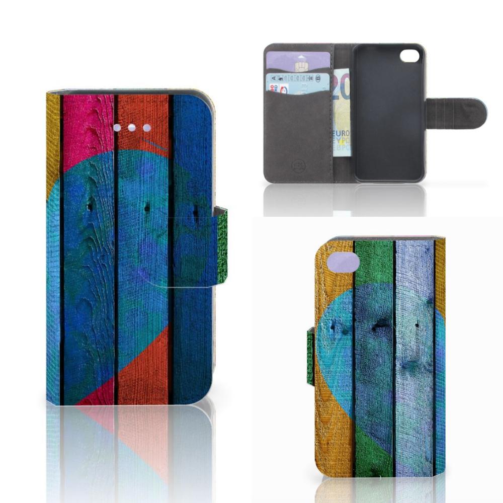 Apple iPhone 4   4S Book Style Case Wood Heart - Cadeau voor je Vriend