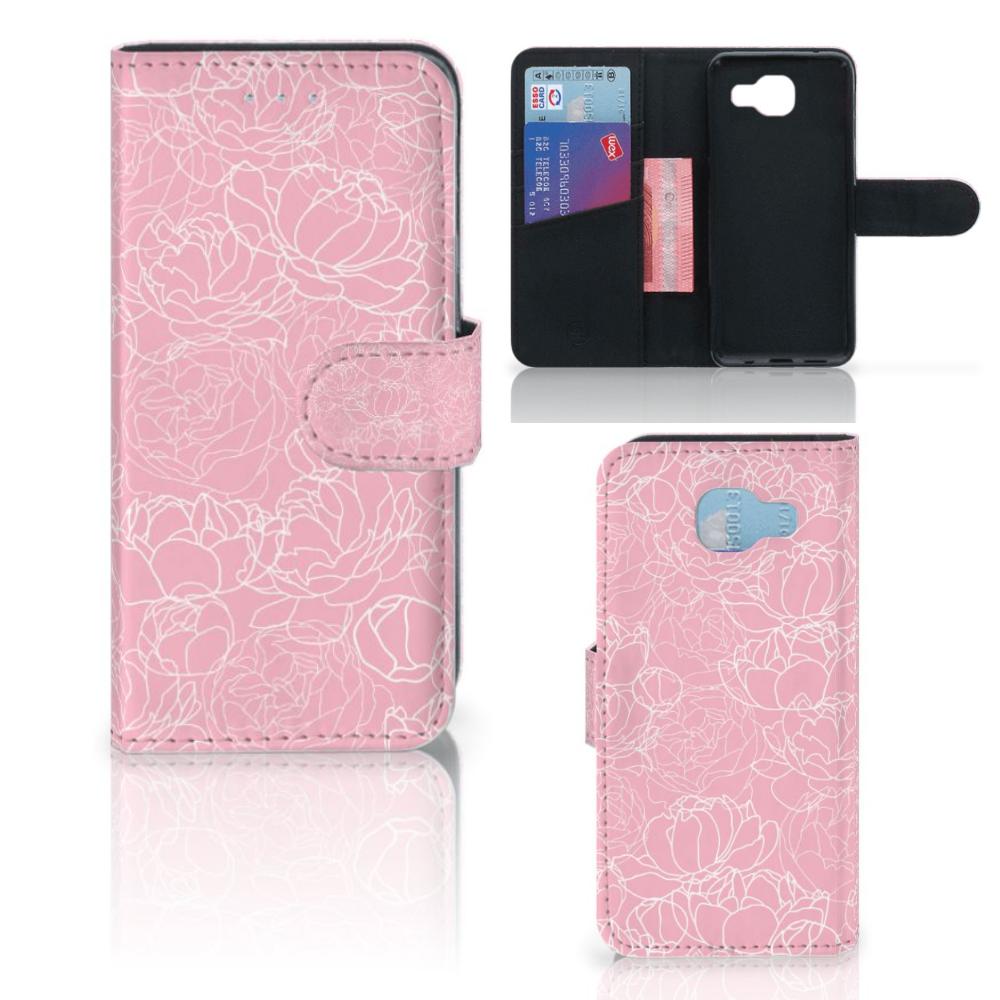 Samsung Galaxy A5 2016 Wallet Case White Flowers