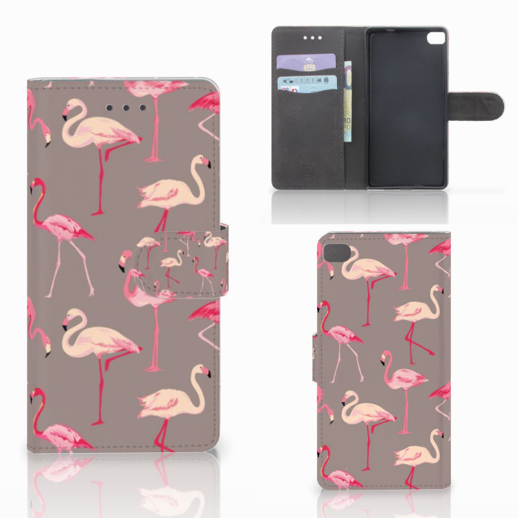 Huawei P8 Telefoonhoesje met Pasjes Flamingo
