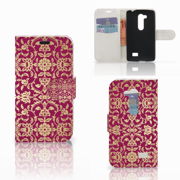 Wallet Case LG L Fino Barok Pink