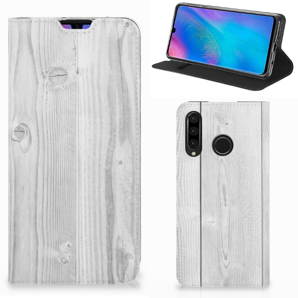 Huawei P30 Lite Book Wallet Case White Wood
