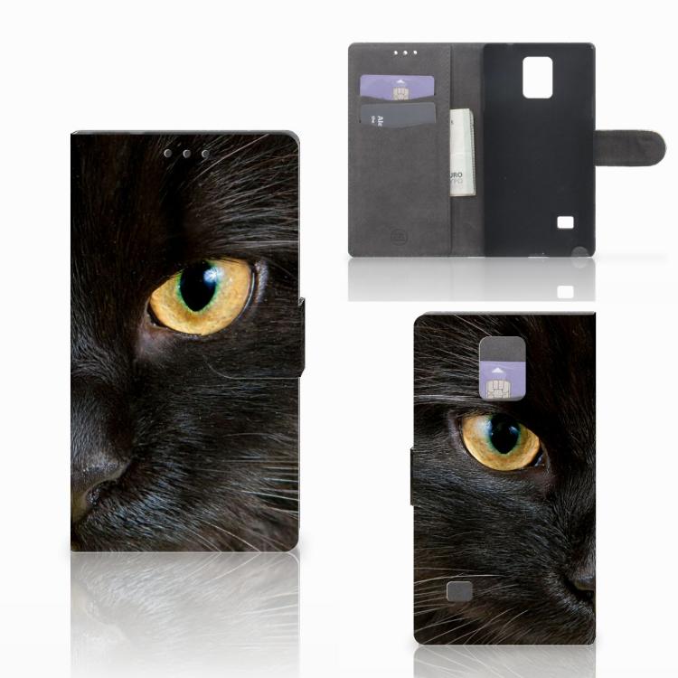 Samsung Galaxy Note 4 Telefoonhoesje met Pasjes Zwarte Kat