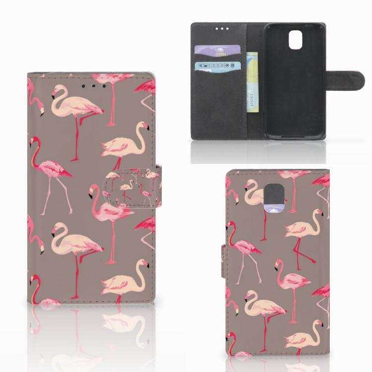 Samsung Galaxy Note 3 Telefoonhoesje met Pasjes Flamingo