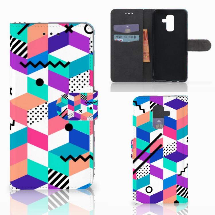 Samsung Galaxy A6 Plus 2018 Bookcase Blokken Kleurrijk