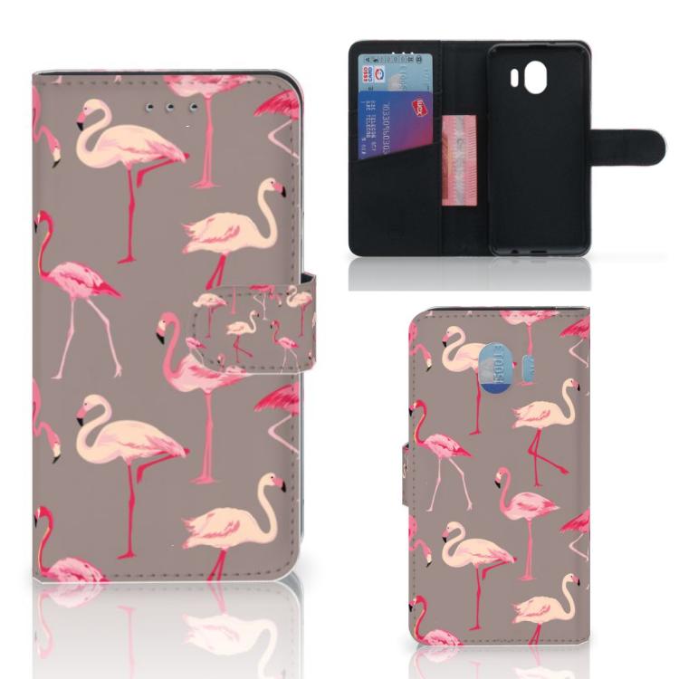 Samsung Galaxy J4 2018 Telefoonhoesje met Pasjes Flamingo
