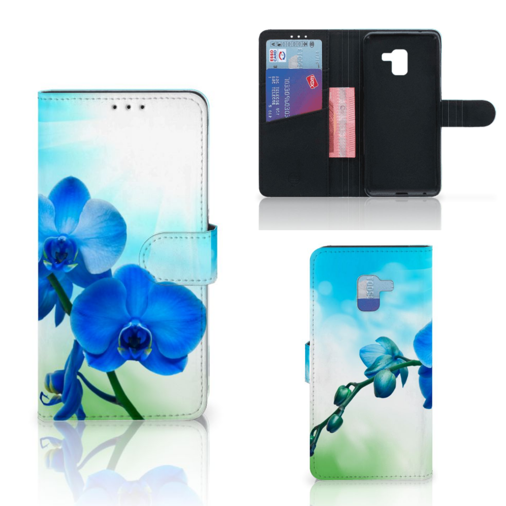 Samsung Galaxy A8 Plus (2018) Hoesje Orchidee Blauw - Cadeau voor je Moeder