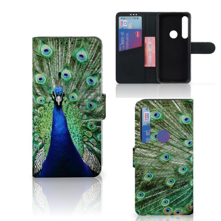 Motorola Moto G8 Plus Telefoonhoesje met Pasjes Pauw