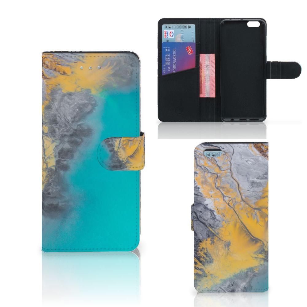 Apple iPhone 6 Plus | 6s Plus Bookcase Marble Blue Gold