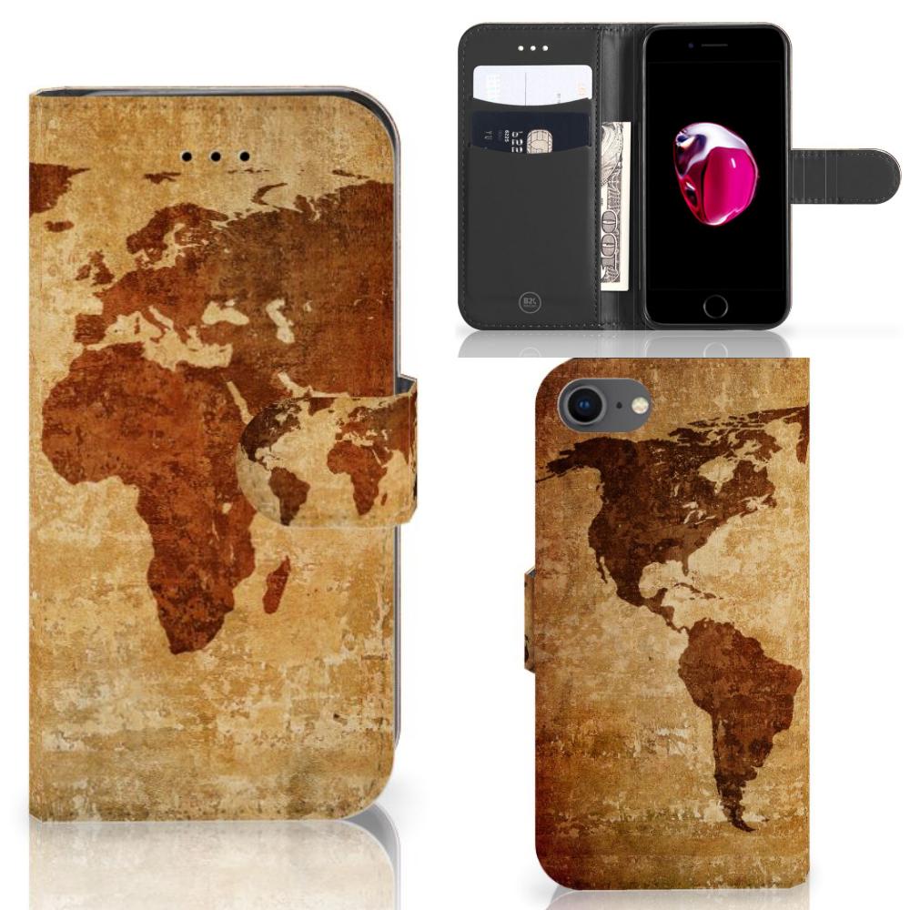 iPhone 7 | 8 | SE (2020) Flip Cover Wereldkaart