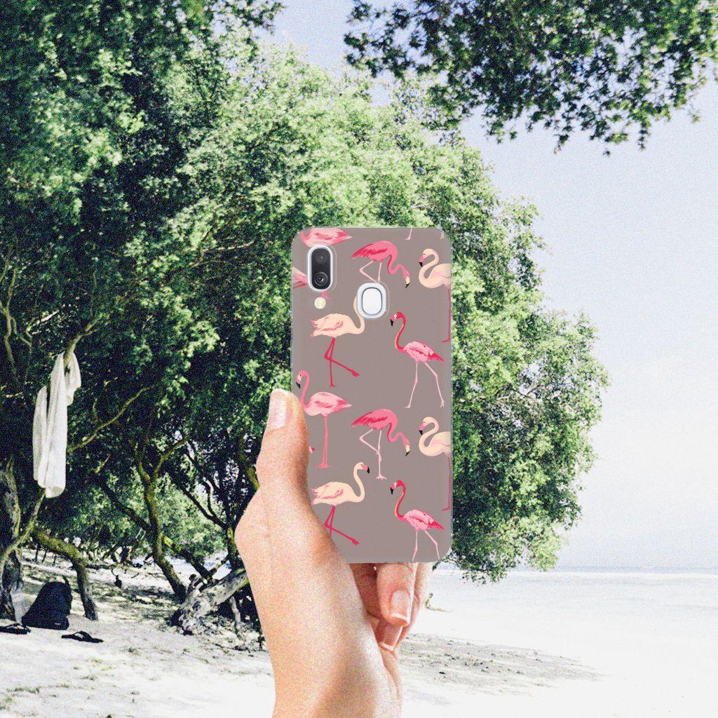 Samsung Galaxy A40 TPU Hoesje Flamingo