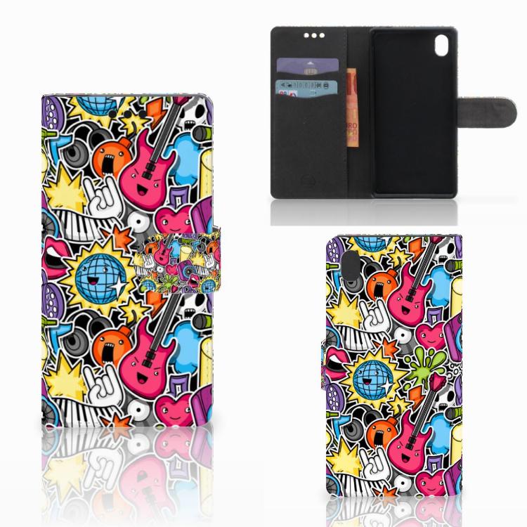 Sony Xperia M4 Aqua Wallet Case met Pasjes Punk Rock