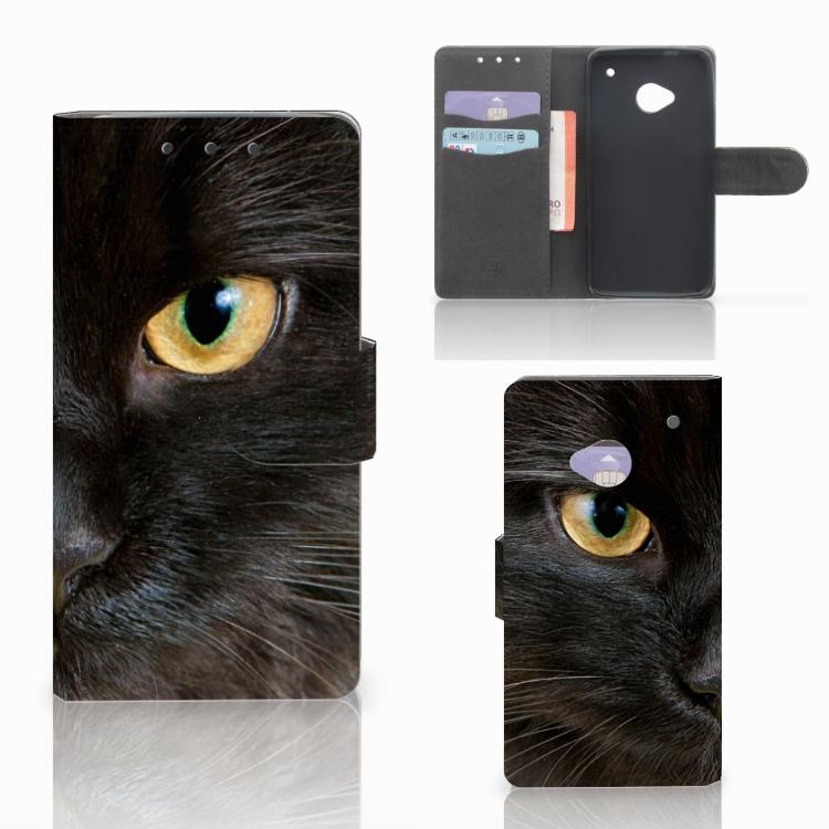 HTC One M7 Telefoonhoesje met Pasjes Zwarte Kat