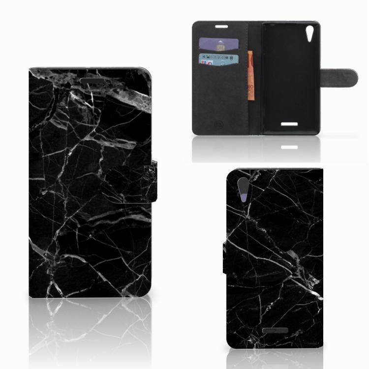 Sony Xperia T3 Bookcase Marmer Zwart - Origineel Cadeau Vader