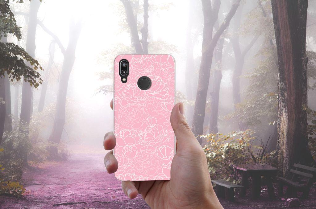 Huawei P20 Lite TPU Case White Flowers