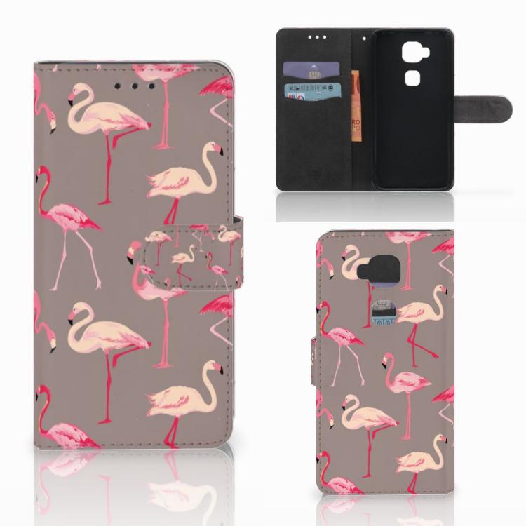 Huawei G8 Telefoonhoesje met Pasjes Flamingo