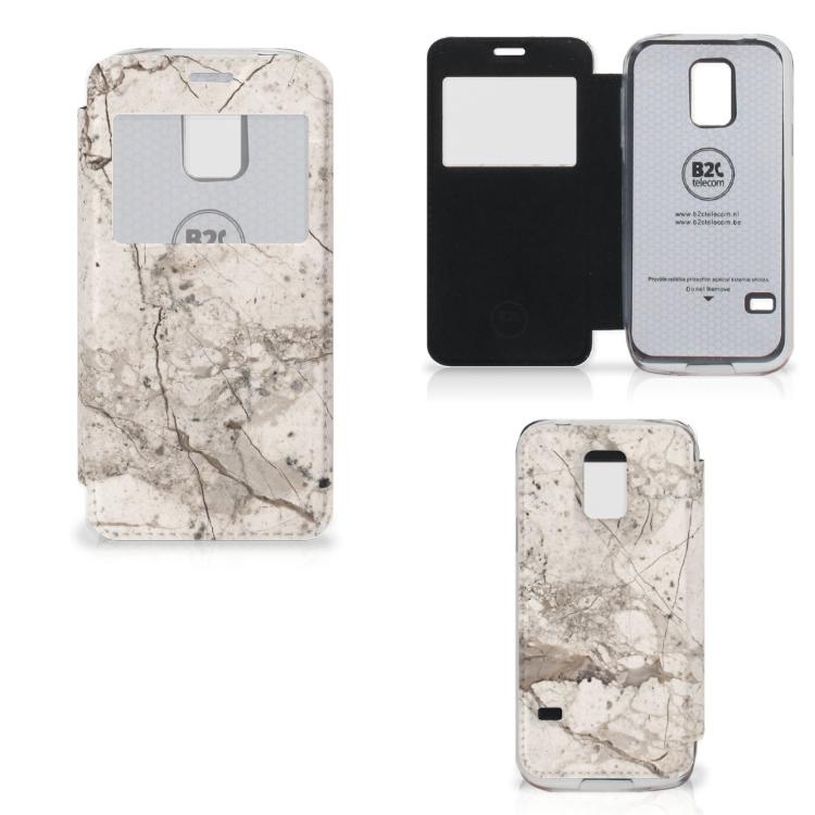 Samsung Galaxy S5 Mini Bookcase Marmer Beige
