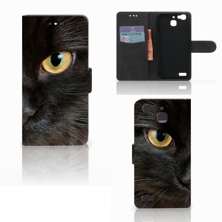 Huawei P8 Lite Smart (GR3) Telefoonhoesje met Pasjes Zwarte Kat