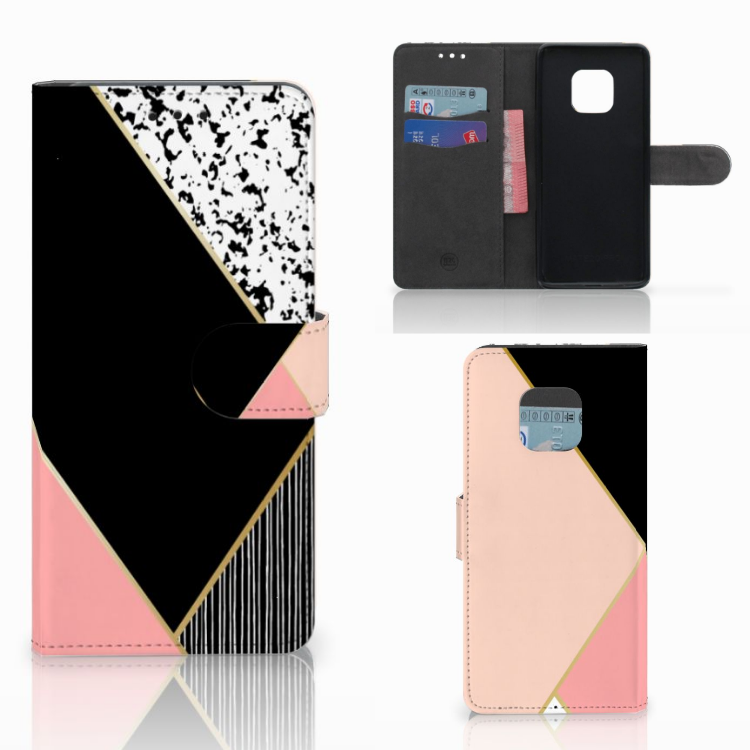 Huawei Mate 20 Pro Bookcase Zwart Roze Vormen