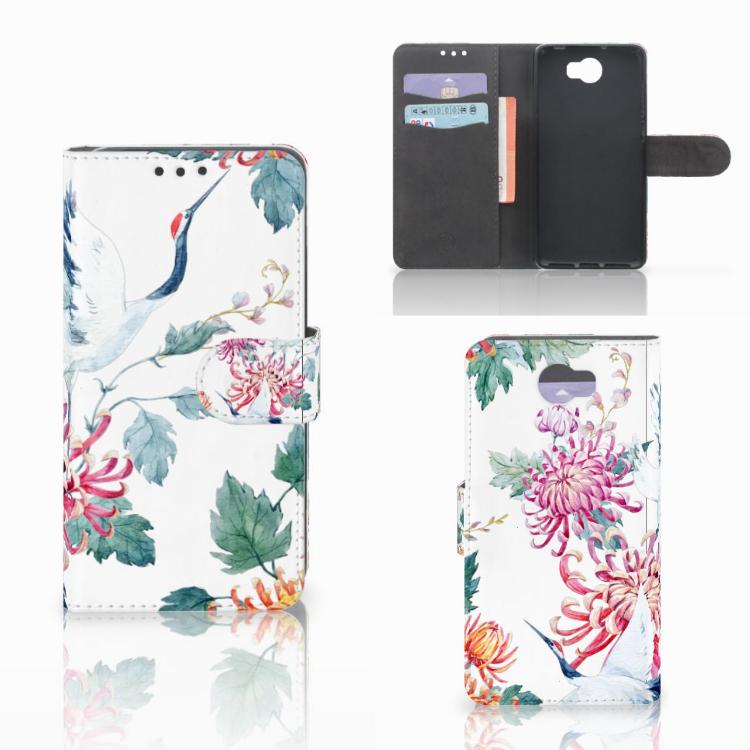 Huawei Y5 2 | Y6 II Compact Telefoonhoesje met Pasjes Bird Flowers