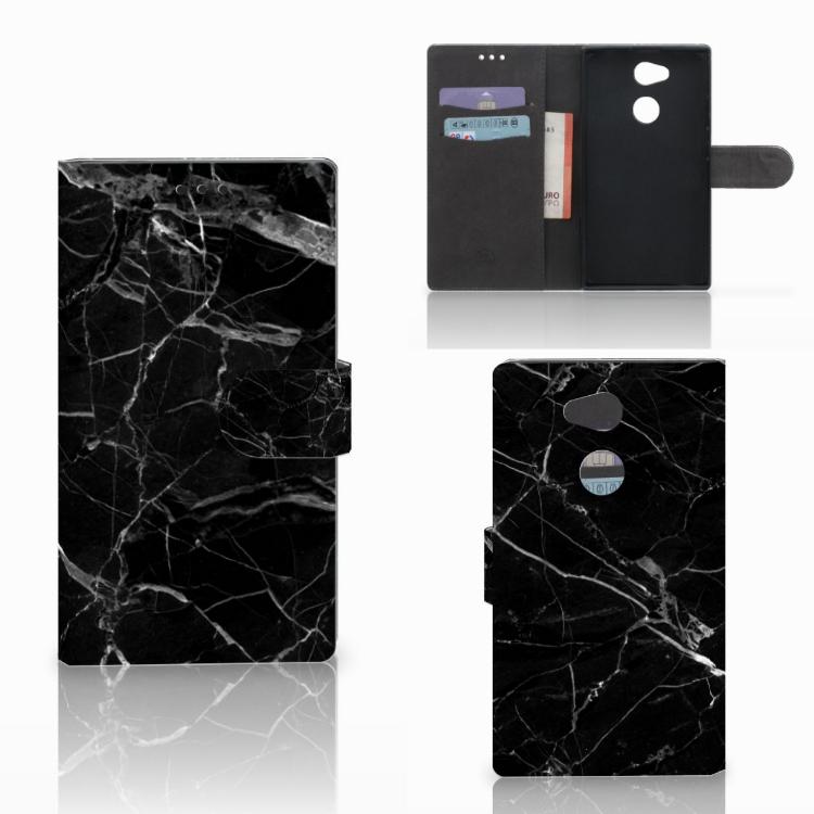 Sony Xperia L2 Bookcase Marmer Zwart - Origineel Cadeau Vader
