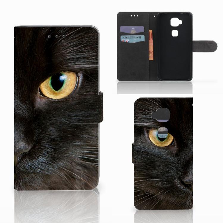 Huawei G8 Telefoonhoesje met Pasjes Zwarte Kat