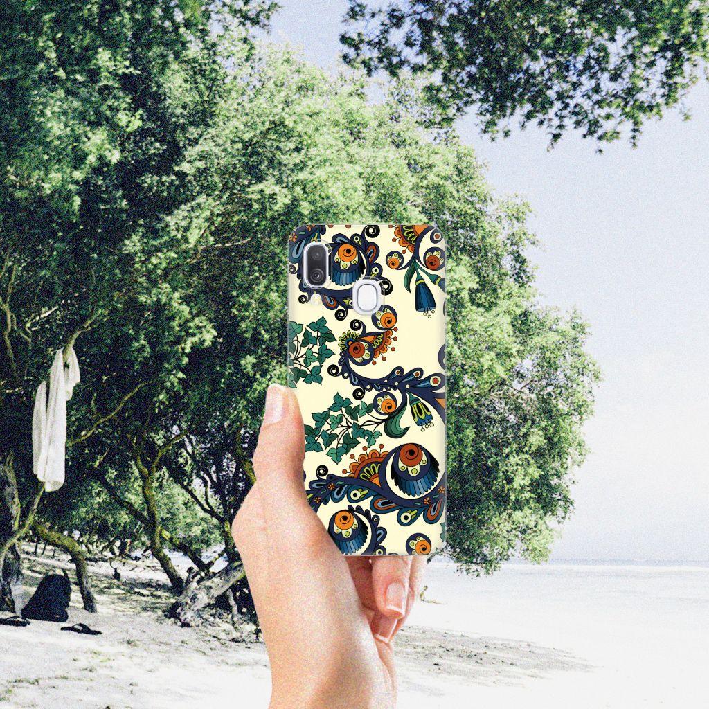 Siliconen Hoesje Samsung Galaxy A40 Barok Flower