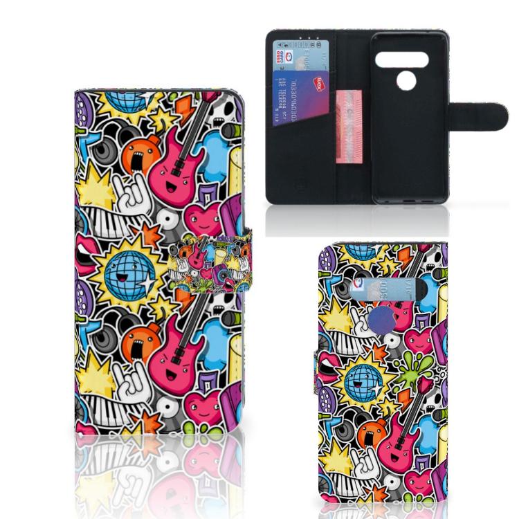 LG G8s Thinq Wallet Case met Pasjes Punk Rock