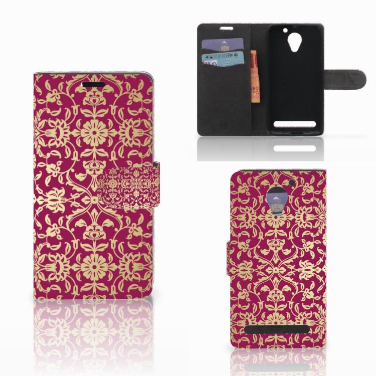 Wallet Case Lenovo C2 Power Barok Pink