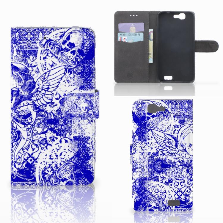Telefoonhoesje met Naam Huawei Ascend G7 Angel Skull Blauw