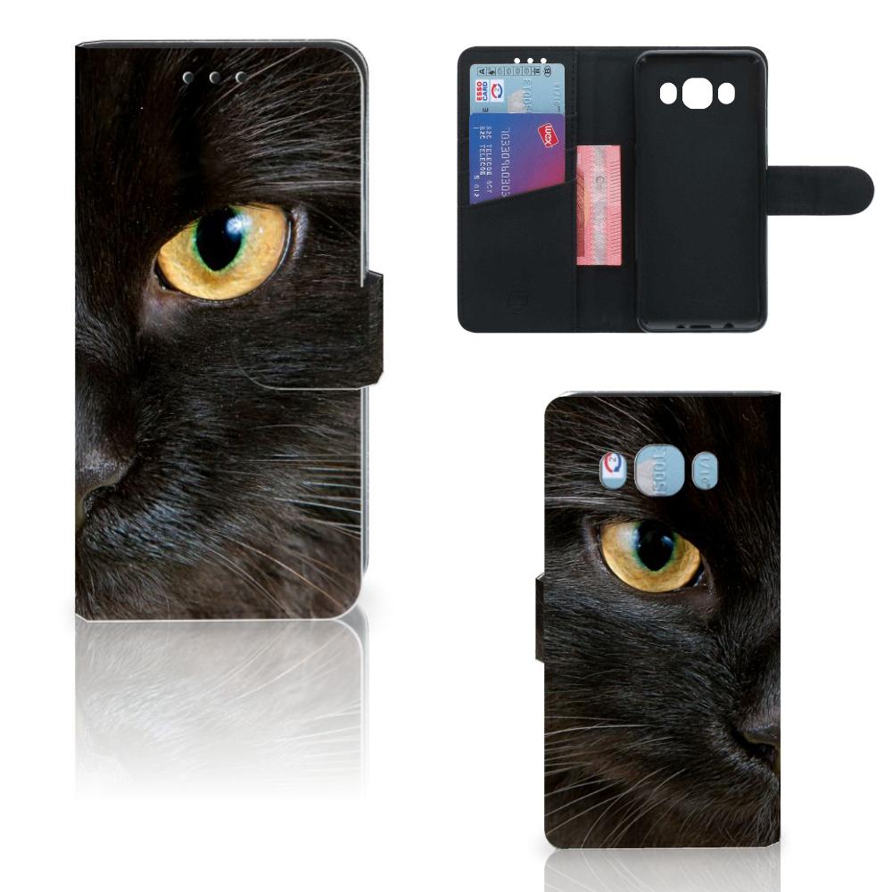 Samsung Galaxy J5 2016 Telefoonhoesje met Pasjes Zwarte Kat