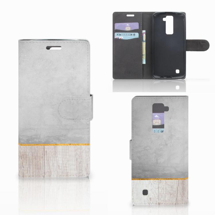 LG K10 2015 Book Style Case Wood Concrete